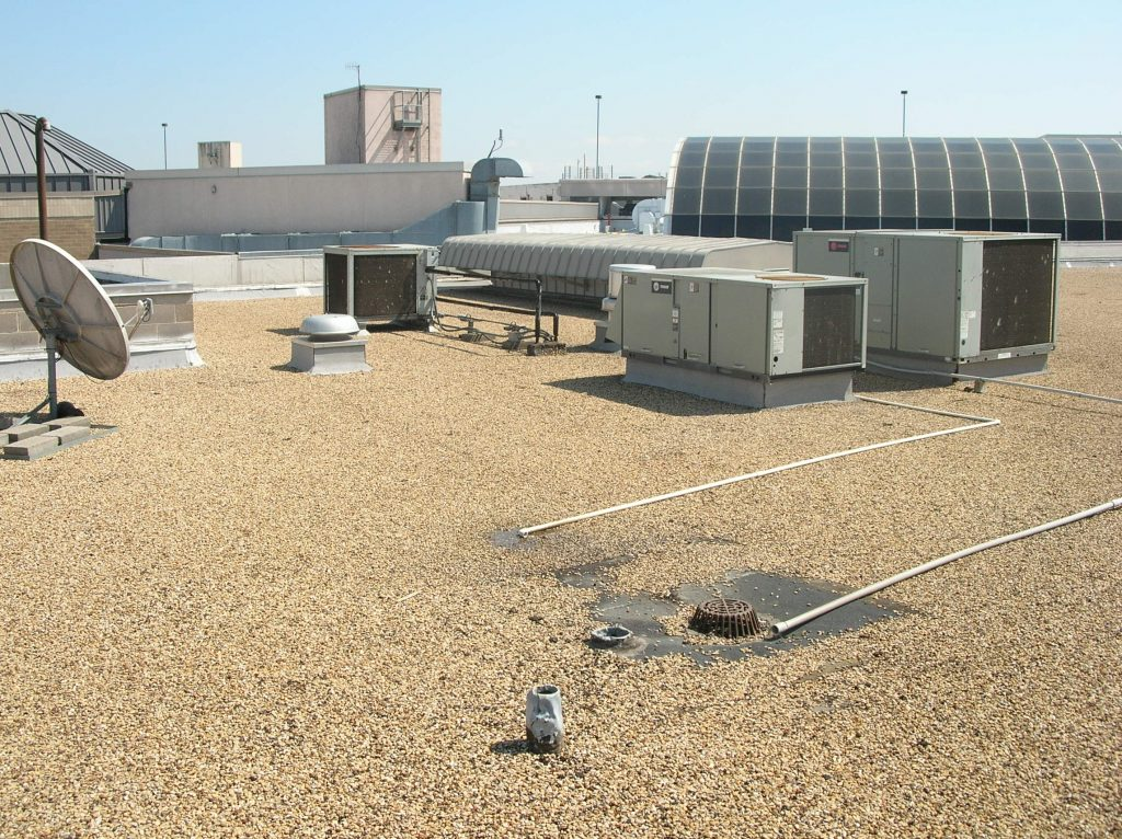 View of a gravel-surfaced built-up roof.