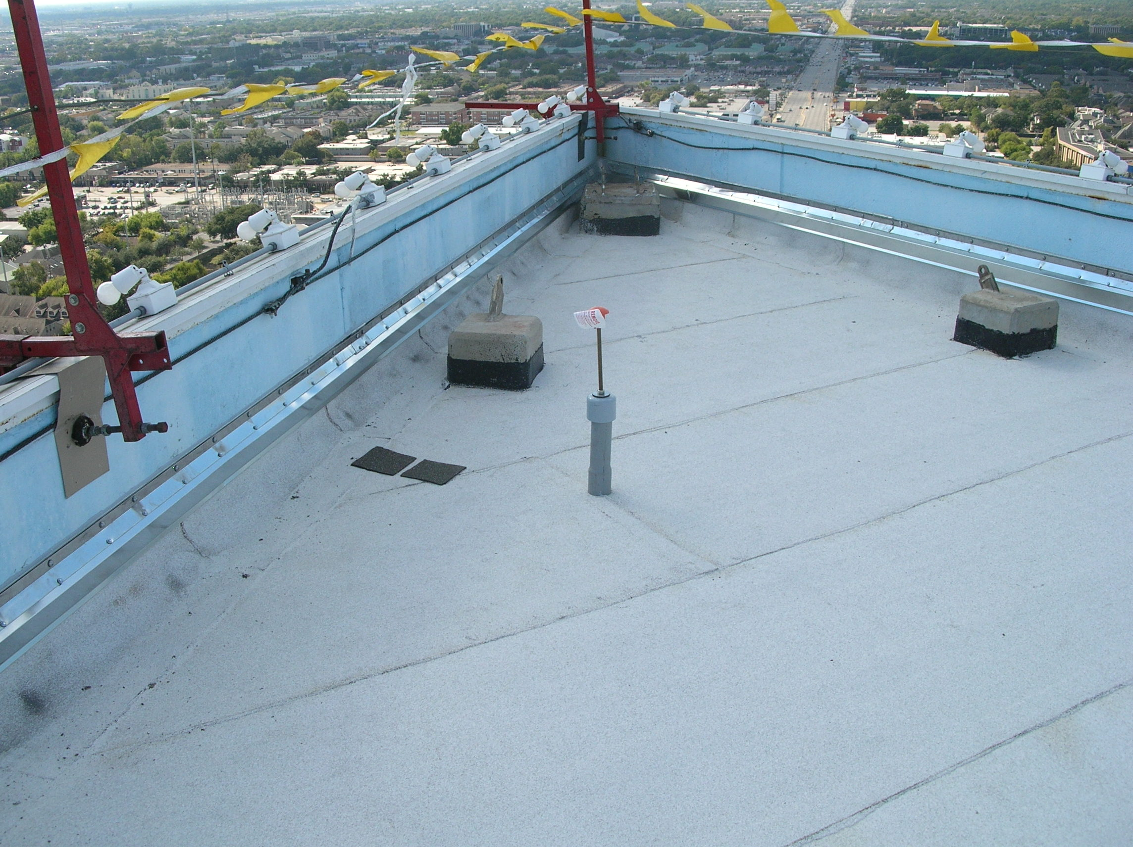 Newly installed modified bitumen roofing.