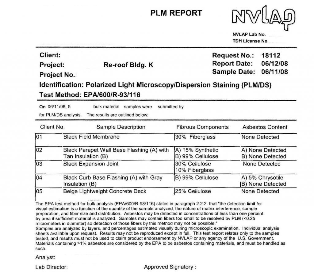 PLM report showing presence of asbestos in the curb base flashing sample from an old built-up roof that is about to be replaced.