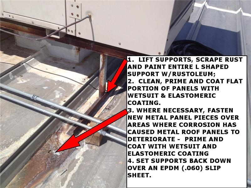 Part of a roof report with repair instructions for corroded metal panels at a leaky evaporative cooling unit.