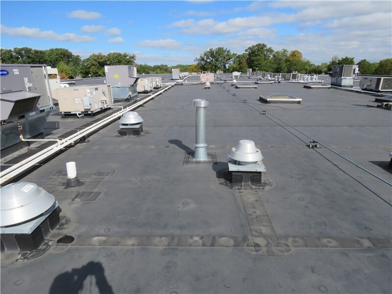 An EPDM single-ply roof membrane