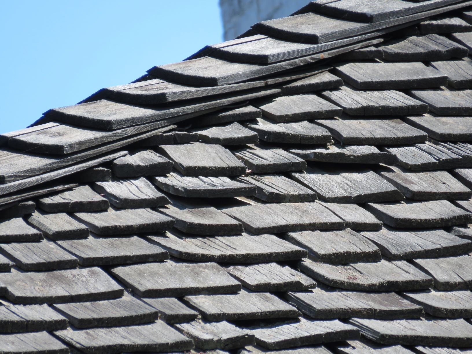 Close-up of a 40-year-old wood shake roof.