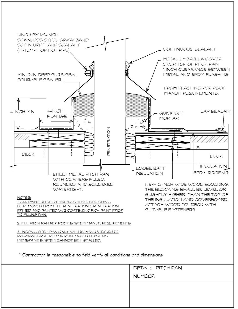 Construction detail for a pitch pan to be installed on an EPDM roof.