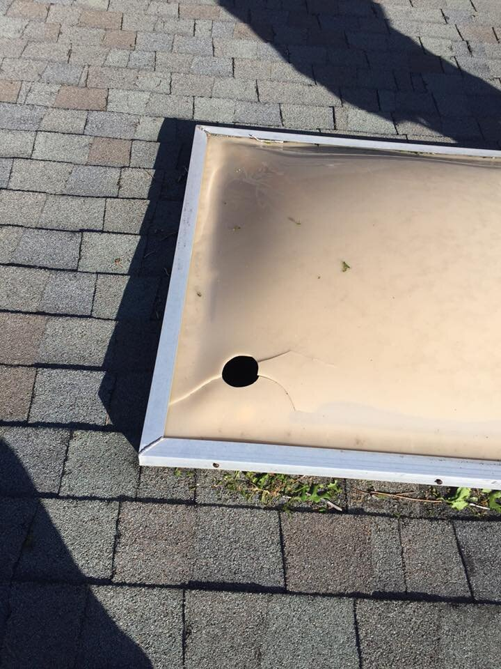 Broken skylights can provide some of the clearest evidence of hail damage.