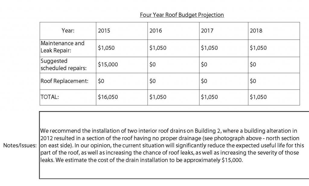Sample roof budget projection.
