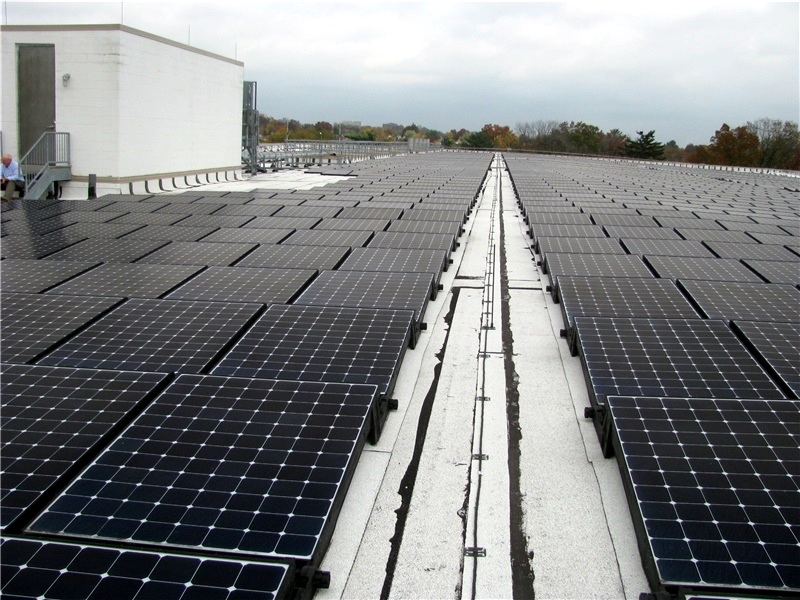 Solar installation on a commercial low-slope roof.