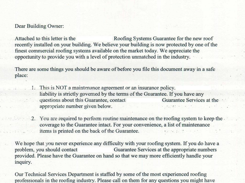 Typical letter that accompanies a roof warranty.