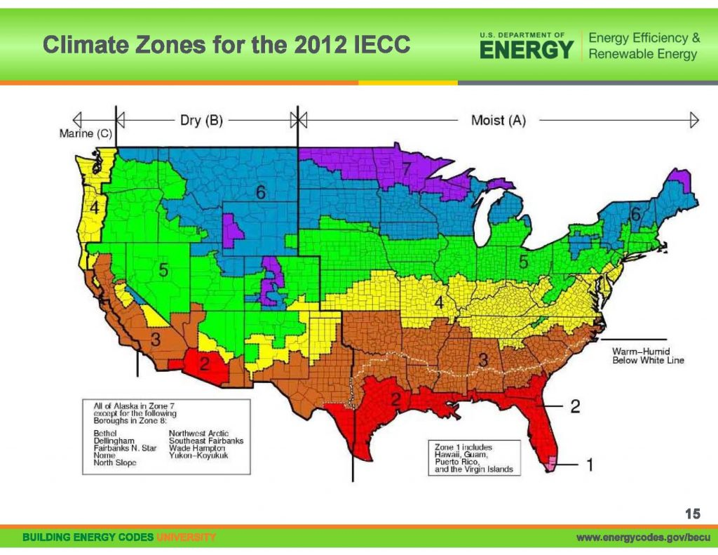 US climate zones. Courtesy US Department of Energy.